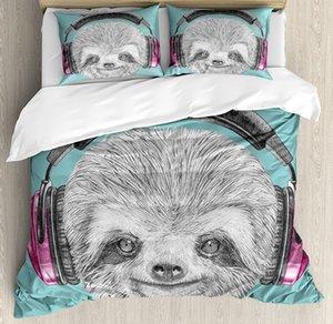 Sloth edredon cobrir Set DJ preguiça Retrato com auscultadores engraçado Modern caráter legal do sorriso bonito cama Set Teal Grey Fuchsia