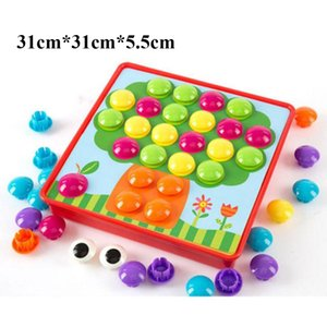 12pcs set Cartoon 3D Puzzle Toys Inserting Mushroom Nail Kit Kids Baby Educational Toys for Children 0-6 Y MX200414
