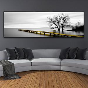 Dipinti su tela bianca lago calmo superficie Lungo Giallo Ponte Scena nero Poster Stampe parete Immagini Living Room Decor