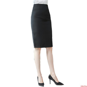 New 2020 Autumn And Winter Elegant Black Skirt Plus Size Womens Split Back Dress Long Skirts S-5XL Work Wear Office Lady Clothes