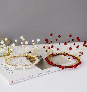 Exquiiste nuziale parte superiore del diadema di perle Alghe Corona Accessories Wedding Cake di cottura della decorazione della decorazione della torta di compleanno Corona