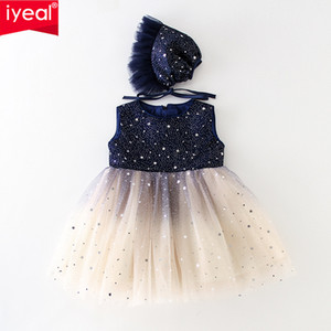 IYEAL IYEAL Sequin Princess Flower Baby Girl Dresses With Hat Pearls Ball Gown Tulle Wedding Party Communion Dress for Newborn