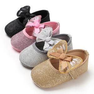 Малыш Детские Девочка обувь Frist ходунки Мягкие Sloe Лук бинты пришивания Сияющий детская обувь для новорожденных Девочка принцесса кроссовки
