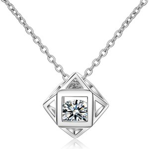 Korea Trendy Cubic Zirconia Square Pendant Necklace Jewelry For Women Casual Female Party Gifts Accessories Not Allergic 402