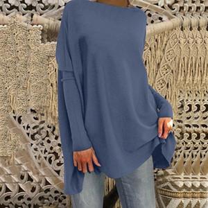 Dihope mujer de manga larga sólido camisetas de la moda 2020 nueva llegada Dihope casual jersey suelto Jumper tops más el tamaño S ~ 3XL AHw5 #