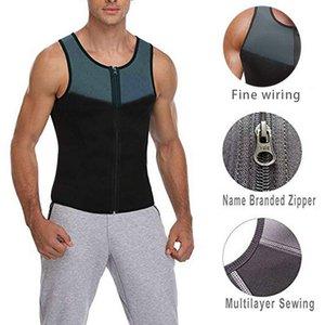 Hot Sale T shirt dos homens Ginásio Moda Neoprene Sauna Vest Suor quente cintura Body Sculpting Slimming Suit Body Sculpting Zipper Vest