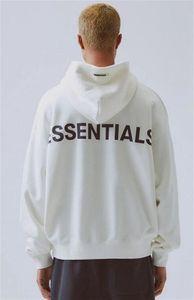 19FW Angst ungedüchmte Frauen Essentials FXWY087 # 943 Reflektierende Pullover Fleece Herren LA GOTT OODIE OODIE EODED Paar Ärmel Sweatshirt Lange Iods