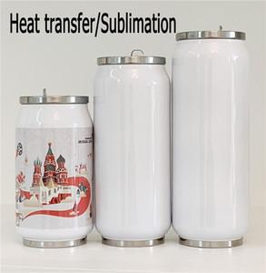 Botella en blanco DIY sublimación Cola poder del agua Taza del acero inoxidable con aislamiento al vacío de doble pared del vaso de la taza para el viaje