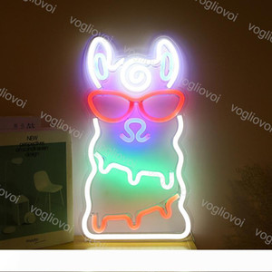 Led Neon Sign SMD2835 Indoor Night light Design Alpaca Multicolor Model With Transparent Backplane Holiday Xmas Party Wedding Table Lamp DHL