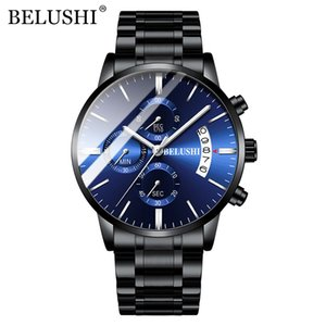 Belushi Montres Hommes Plein acier Nouveau Top Mode Chronographe étanche Résistant aux chocs Sport Quartz Creative Belushi Marque Man Montre