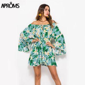 Aproms Лето Flare рукав Подсолнечной печати платье женщины с длинным рукавом с плечом Свободных платьями 2020 Женского пляж платья Уличного