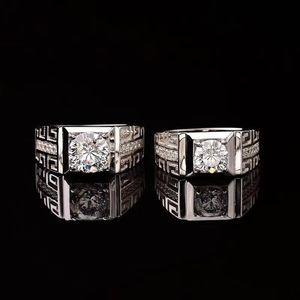Real S925 Серебряное кольцо 18K Белое золото покрыло 1ct-2ct Moissanite люкс Мужской Кольца для мужчин Белый D Цвет Fine Jewelry