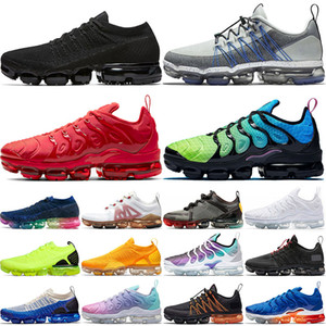2020 Nike Air Vapormax Tn Plus Flyknit Run Utility off white Size 13 Triple Black Hommes Baskets Chaussures de course Aurora Vert Gris Bleu KNIT Tns University Gold Femmes Sneakers