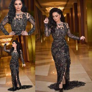 Dividir cordón de Nueva Negro árabe vestidos de noche de manga larga escote redondo con cuentas sirena vestidos de baile 2020 Fiesta Vestidos