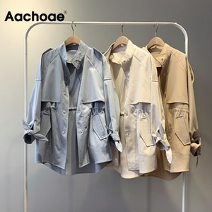 Aachoae 2020 Women Solid Casual Trench Bow Tie Batwing Sleeve Pockets Coat Female Stand Collar Single Breasted Korean Outerwear