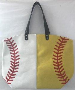 18 styles Baseball Bag Tote Canvas Handbags Softball Football Shoulder Bag Soccer Print Bags Cotton Sports Tote Handbag GGA3587-3