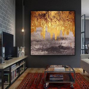 Black Yellow Leaves Abstract Oil Painting on Canvas Nordic Posters and Prints Wall Art Pictures for Living Room Modern Home Decor