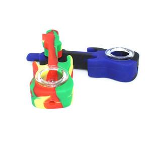 4,3 Zoll Silikongitarre Raucher Rohr Silikon Handleitung mit Glasschüssel Taschenpfeife Rauchen Zubehör
