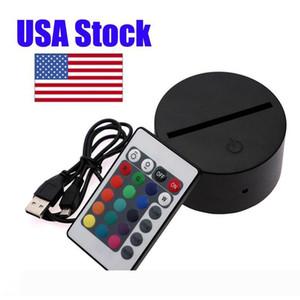 3D Nacht LED-Licht Lampe Basis Fernbedienung USB-Kabel Einstellbar 7 Farben Crestech Dekorative Lichter für Schlafzimmer Kind Wohnzimmer