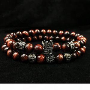 P 2018 New Men &#039 ;S Bracelet 2pcs Set Of Luxury Natural Tiger Eye Stone Cz Crown Charm Jewelry Bracelet Holiday Gift Bracelet