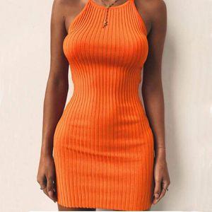 المرأة فساتين السيدات مثير صيف بلا أكمام تانك سليم البسيطة القصيرة محبوك الهيئة غير الرسمية فستان الشمس 5 اللون أنثى Vestidos أورانج