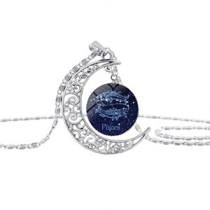 12 Sinal do zodíaco pingente de vidro Dome Crescent Colar Lua Câncer Leão Presente de aniversário Cabochon Constellation Horóscopo Astrologia Áries Gêmeos