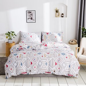 WUJIE Geometric Pattern Duvet Cover Set with Pillowcases Bed Linens Twin Queen King Size Comforter Bedding Sets Home Textiles