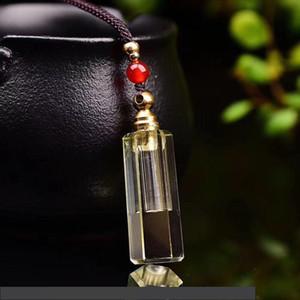 Natural Citrine Yellow Perfume Bottle Pendant Necklace for Oil Diffuser Aromatherapy Spiritual Reiki Healing Crystal Bottle Gift Jewelry