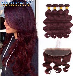 # Offerte 99J vino rosso malese dell'onda del corpo di capelli umani Bundle 4 pezzi con Frontals 5pcs Borgogna 13x4 Lace Full Frontal Chiusura con Tessiture