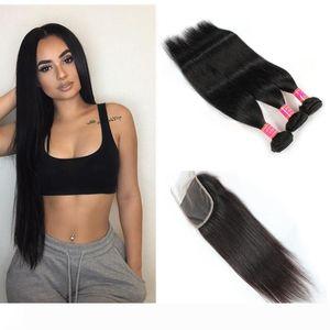Brazilian Straight Human Hair Bundles With Closure Natural Black Human Hair 3 Bundles with Lace Closure
