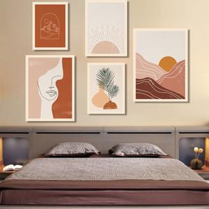 Boho Art Prints Абстрактный пейзаж Плакат Bundle Line Art Женщины Face Gallery Wall Pictures Horizon Sun Картины на холсте Decor