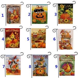 Giardino Bandiera di ringraziamento Deorations Halloween Doppia stampa Zucca pensili Banner Bandiere casa della decorazione del partito 47 * 32 centimetri DHL WX9-1057