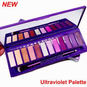 El más reciente de maquillaje sombra de ojos paleta con el cepillo ultravioleta 12 colores de sombra de ojos desnuda Mate belleza brillo sombra de ojos púrpura paleta Hills