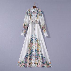 2020 Verão Novo Luxo manga comprida lapela pescoço botões florais impressão de algodão com cinto branco Single-Breasted vestido Runway Vestidos JL082327