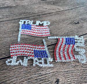 Trump Брошь Pin Алмазного флаг Брошь Rhinestone Письмо Trump брошь Кристалл Badge пальто платье Pins Одежда Ювелирные изделия GGA3593-2