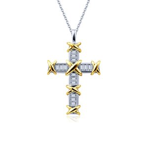 2020 New Arrival Unique Ins Luxury Jewelry 925 Sterling Silver Princess Cut Topaz Cross Pendant Party Women Wedding Link Chain Necklace Gift