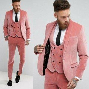 Luz Blush Pink Velvet Slim Fit Hombres vestidos de novia esmoquin mejor juego del hombre formal novio Blazer 3 PCS JacketVestPant Ropa hombre