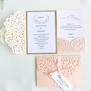 Rose Romantic Wedding Invitation Dirty Pink Spring Glittery Laser Cut Pocket Invite tri-fold Free Customized Printing Shipping T200115