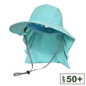 Fishing Hats Outdoor Wide Brim Sunshade Foldable Anti-UV Mesh Sweatband Neck Cover Bucket Hats - Hiking Fishing