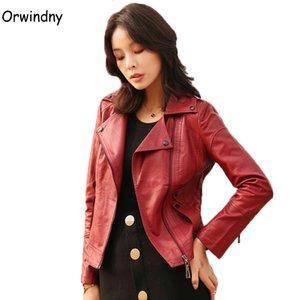 Women Motorcycle Leather Jacket Burgundy S-2XL Turn-down Collar Zipper Jacket Coat Female Leather Clothing Orwindny