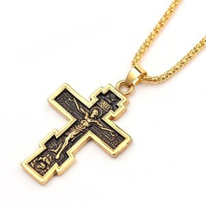 Vintage Religion Cross of Jesus Gold Pendant Necklace Male Charm Hip-hop Necklace Back Runic Bible English Long Chain Jewelry