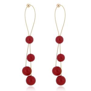 New fashion pearl earrings personalized simple pearl long earrings
