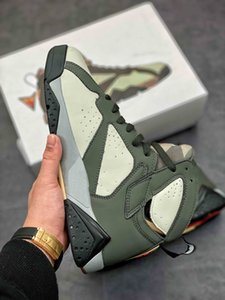 7 Retro Basketball Shoes AT3375-100 LIGHT SEQUOIA RIVER ROCK men shoes chaussures de designer sports footwear