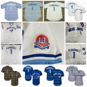 1 Tony Fernandez Toronto Azul 1988 1993 1984 fresco Vintage base Homens Salute ao serviço Flex Base de Womens Youth Baseball Jersey