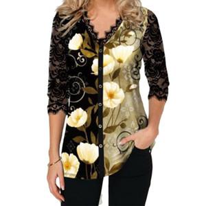 Mode élégante dentelle Shirt Femme Nouveau Printemps imprimé floral Haut-shirts Femme Casual T-shirt manches longues col V Taille Plus Clothings MX200721