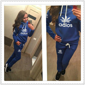 Frete Grátis Mulher Designer Impresso Sport Ternos Hoodies and Calça Dois Parte Sets Outfits Suits Size Size S ~ XL