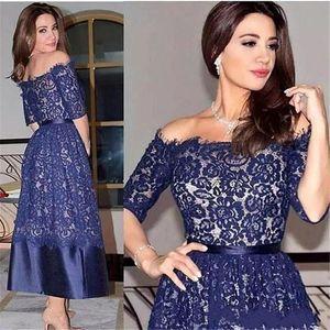 Elegant Navy Blue Lace Mother Of The Bride Dresses With Half Sleeves Tea Length Short Dresses Evening Wear Wedding Guest Dress AL6531