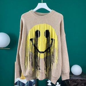 20ss 가을 겨울 유럽 스페인 고품질의 미소 얼굴 개의 Tassels 스웨터 패션 남성 여성 까마귀 운동복