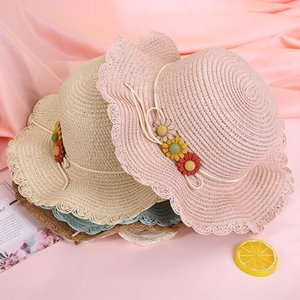 New creative lotus leaf three flower Flowers and grass straw hat outdoor holiday leisure children's beach hat straw bag set