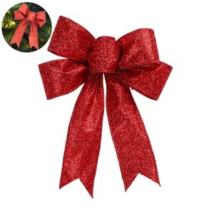 """Christmas Bows Glitter Bowknot Xmas Decoration Ribbon Bow Indoor Outdoor Decoration For Garland Tree Topper Bow 5.1""""Inches - Red"""
